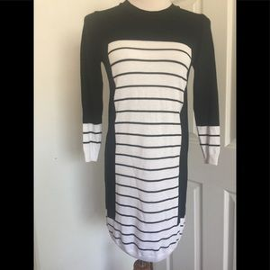 Asos Black And White Striped Sweater Dress